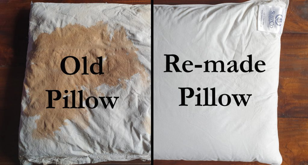 An old stained pillow remade in a new cotton casing